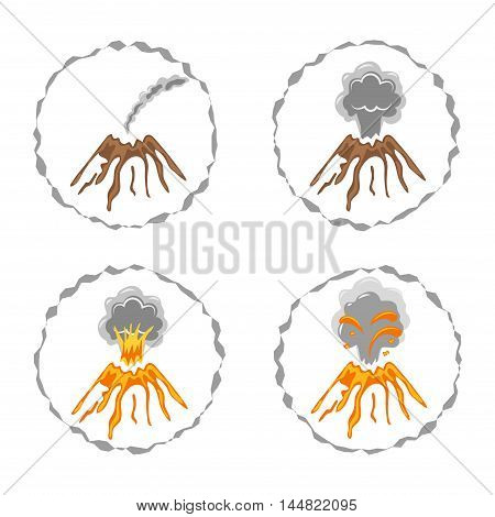 Set of volcano logos isolated on white. Different stages of volcano activity. Vector illustration.