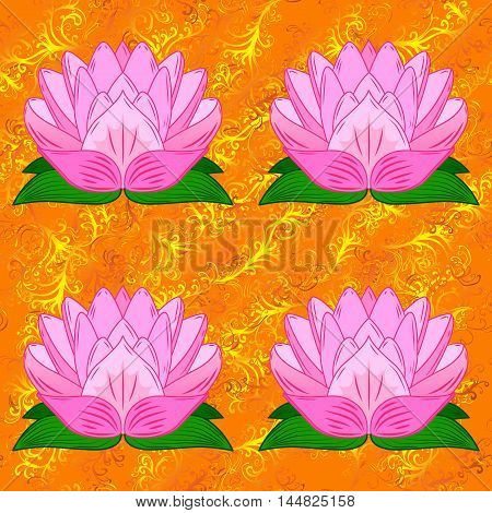 Orange background with lilac lotus. Vector illustration.