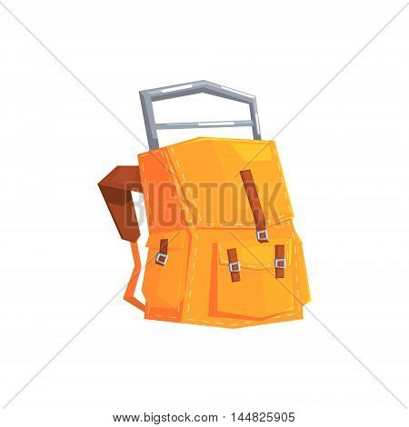 Hiking And Camping Tarpaulin Backpack. Cool Colorful Vector Illustration In Stylized Geometric Cartoon Design On White Background