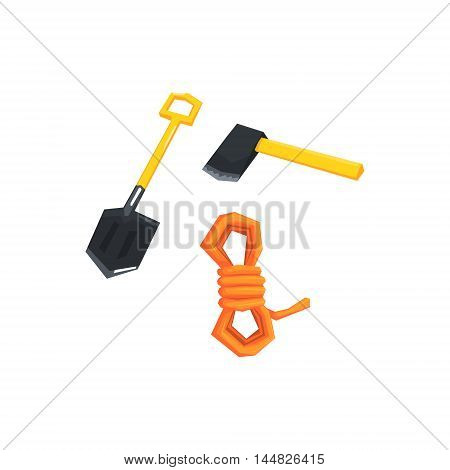Shovel, Axe And Rope Camping Necessities Kit. Cool Colorful Vector Illustration In Stylized Geometric Cartoon Design On White Background
