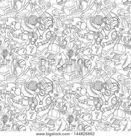 Black And White Sport, Fitness, Functional Training Background Seamless  Hand Drawn Doodle Style Pat