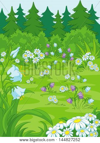 Illustration of a forest glade, there are layers
