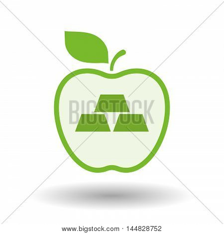 Isolated  Line Art  Apple Icon With Three Gold Bullions