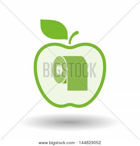 Isolated  Line Art  Apple Icon With A Toilet Paper Roll