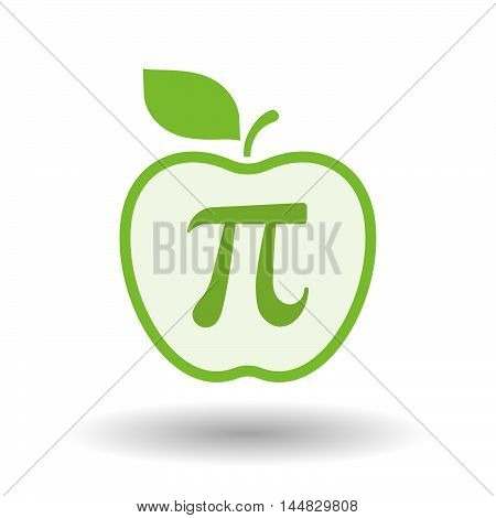Isolated  Line Art  Apple Icon With The Number Pi Symbol