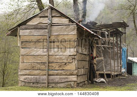 Gilan IRAN - March 22 2016: Taleshi Herders Chalet. Gilan Province