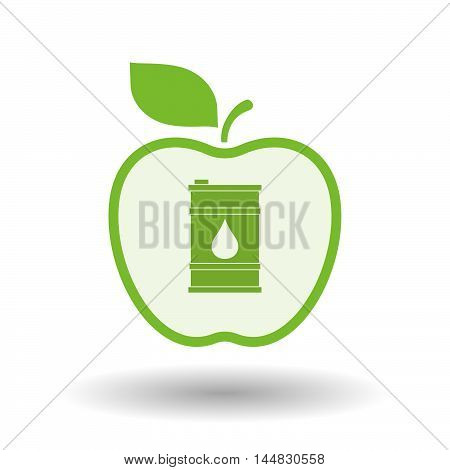 Isolated  Line Art  Apple Icon With A Barrel Of Oil