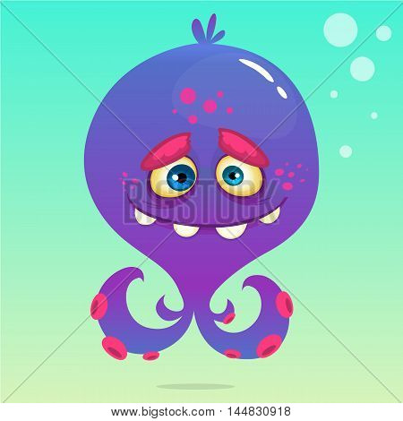 Cute cartoon octopus. Vector Halloween purple octopus with tentacles isolated on underwater background
