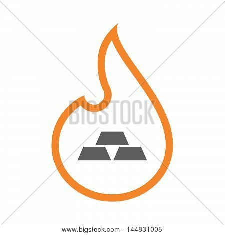 Isolated  Line Art  Flame Icon With Three Gold Bullions
