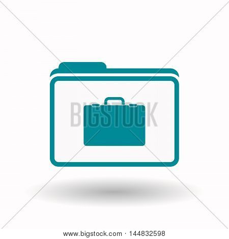 Isolated  Line Art Folder Icon With  A Briefcase