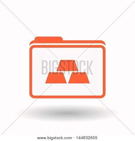 Isolated  Line Art Folder Icon With Three Gold Bullions