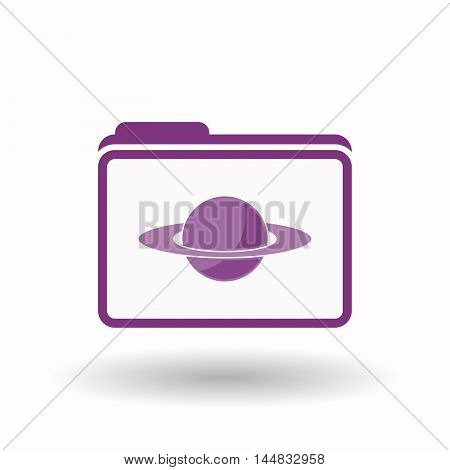 Isolated  Line Art Folder Icon With The Planet Saturn
