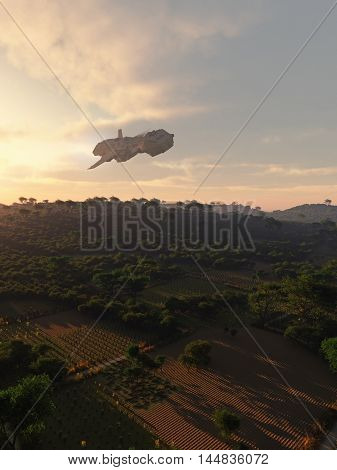 Science fiction illustration of an interplanetary spaceship flying over rural farmland at sunset in low evening light, digital illustration (3d rendering)