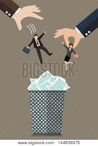 Boss throws a business woman in the trash can. Business concept
