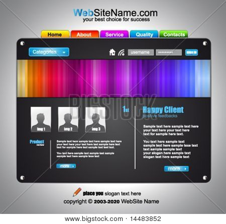 Modern Artistic WebDesign Template with original Design elements and Colours