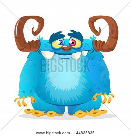 Happy cartoon blue furry monster with horns. Vector yeti Halloween character