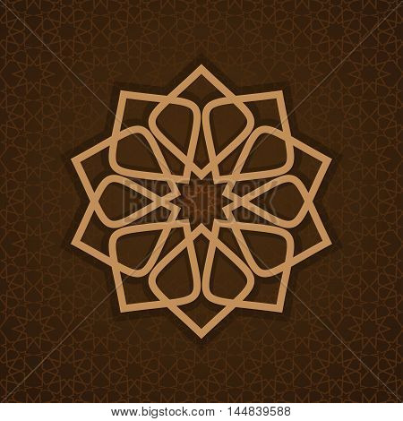Luxurious islamic arabic background pattern template. Round pattern in Arabic style on ornate brown background. Circle ornamental geometric arabic pattern. Vector illustration