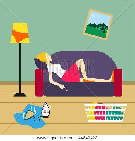 Bad housewife Vector illustration Housewife lies on the sofa and smokes in untidy room