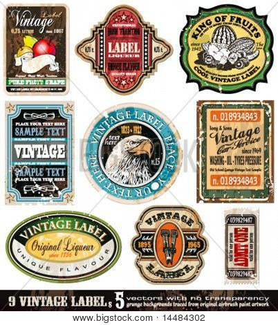 Vintage Labels Collection - 9 design elements with original antique style -Set 5