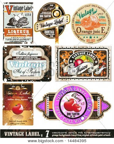 Vintage Labels Collection - 7design elements with original antique style -Set 7