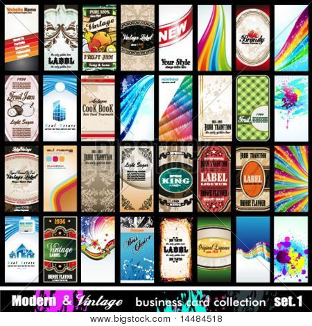 Modern & Vintage Business Card Collection - 32 quality backgrounds - Set 1