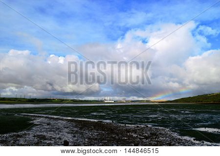 An amazing sky over the Valero refinery in Pembrokeshire, Wales