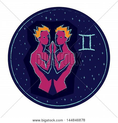 Zodiac sign Gemini on night starry sky background. Vector illustration.