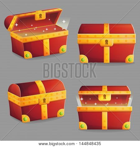 Illustration of an ancient treasure chest with riches shining inside of it. Different view angles and positions. Front and isometric view.