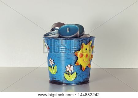christmas miniature candle for advent and blue pail bucket, Aquarius design candle holder
