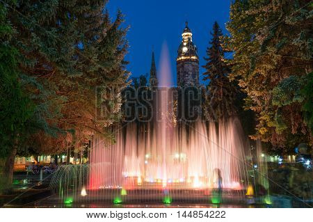 Singing fountains and Saint Elisabeth Cathedral on Main street in Kosice, Slovakia