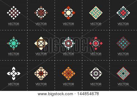 Geometric logo template set. Vector rhombic arabic ornamental symbols