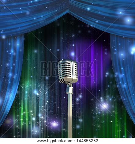 Classic Microphone with Colorful Curtains  3D Rendered