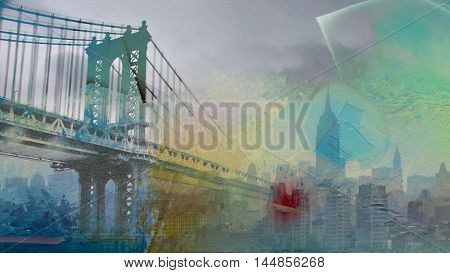 Manhattan Bridge Painterly Landscape