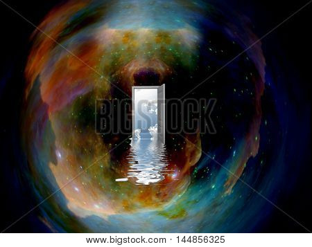 Doorway to another world in the space  Elements provided by NASA  3D Rendered