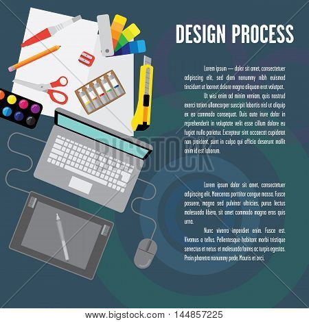 Layout design process. It contains a laptop tablet computer mouse a stylus and a place for text