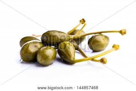 Canned Capers On White  Background