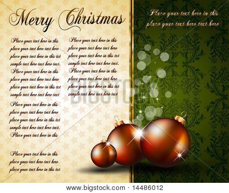 Vintage Christmas Baubles Background for Elegant Invitation Flyer or Brochure