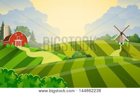 Cartoon farm field green seeding field, red barn on a green farmers field, large field farming striped, Farm flat landscape. Organic food concept for any design