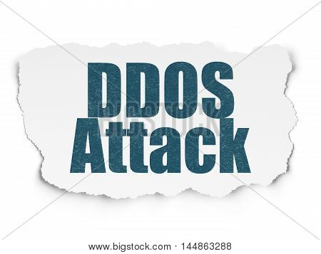 Safety concept: Painted blue text DDOS Attack on Torn Paper background with  Tag Cloud