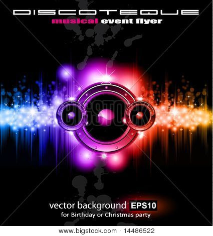 High Tech Futuristic Music Disco Background with glowing Rainbow lights