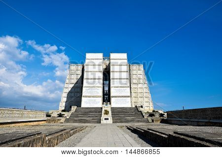 Santo Domingo, Dominican Republic - January 30, 2016: Exterior view of Christopher Columbus Lighthouse in blue sky. East zone of Santo Domingo, Dominican Republic.