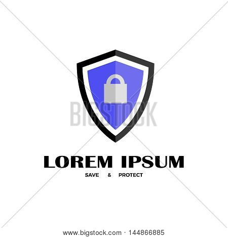Vector template of shield with lock. Security company logo. Flat icon of shield.