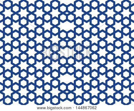 Seamless pattern in the Islamic style. Seamless geometric girih pattern. Blue seamless stellar pattern on a white background. Vector illustration