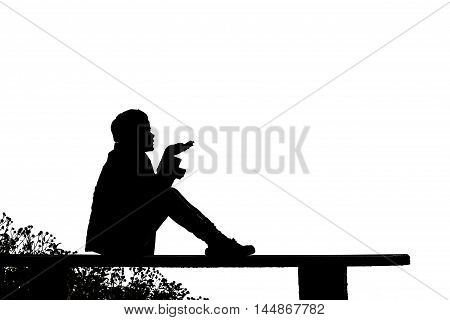 silhouette of a woman Hand blessings Sit on a chair on the mountain