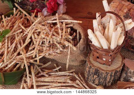 Fresh taro and taro stick with salt