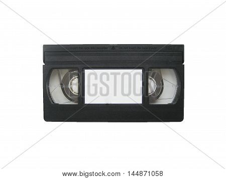 Retro vhs video cassette tape closeup isolated on white background top view. Old recorder for film and sound.