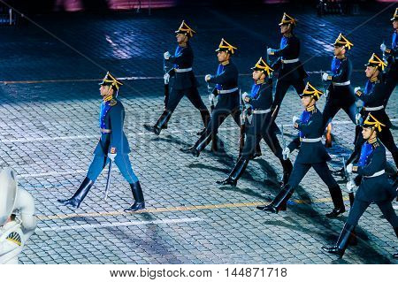 MOSCOW RUSSIA - AUGUST 26 2016: Spasskaya Tower internationa military music festival. The Honor Guard of the Presidential Regiment at the Red Square