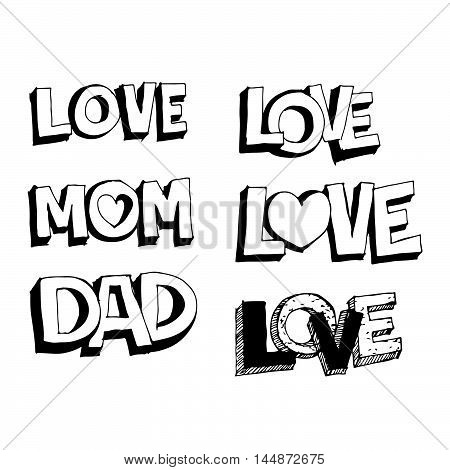 doodle love mom and dad icon illustration design