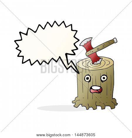 freehand drawn speech bubble cartoon tree stump and axe