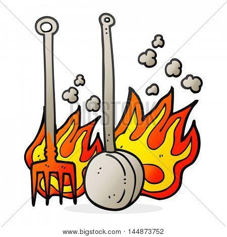 freehand drawn cartoon hot fireside tools